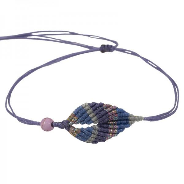Siballba Purple boho macrame leaf ankle bracelet
