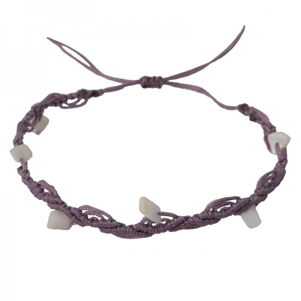 Siballba Μακραμέ βραχιόλι ποδιού μοβ με πέτρες φίλντισι