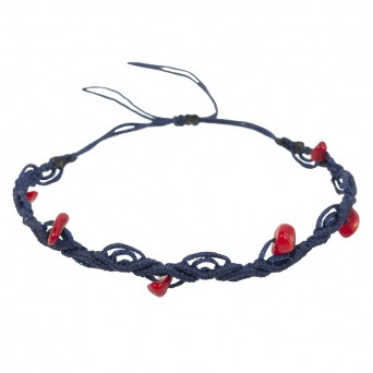 Siballba Blue macrame ankle bracelet with gemstones