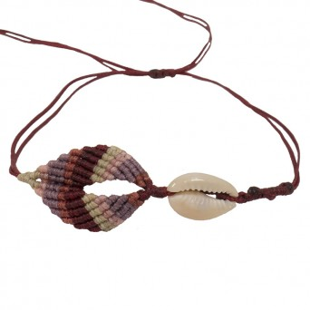 Siballba Burgundy boho macrame leaf anklet with seashell