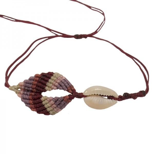 Siballba Burgundy boho macrame leaf anklet with seashell