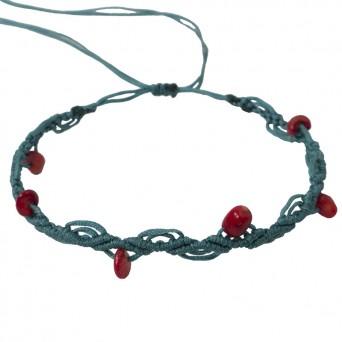 Siballba Petrol macrame ankle bracelet with gemstones