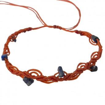 Siballba Orange macrame ankle bracelet with gemstones