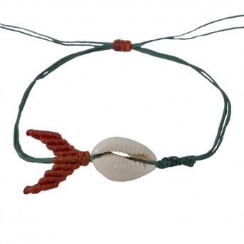 Siballba Green macrame whale ankle bracelet  with seashell