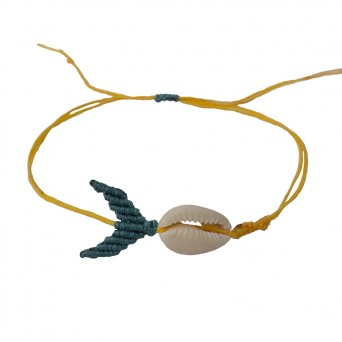 Siballba Yellow macrame whale ankle bracelet  with seashell