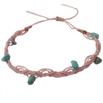 Siballba Pink macrame ankle bracelet with gemstones