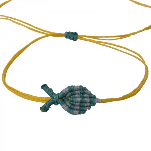Siballba Μακραμέ βραχιόλι ποδιού ψαράκι κίτρινο πετρόλ