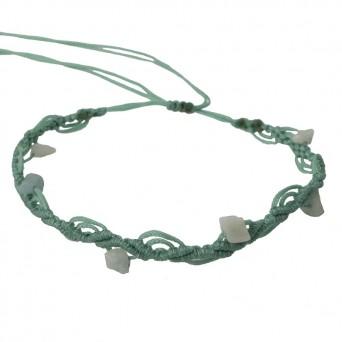 Siballba Turquoise macrame ankle bracelet with gemstones