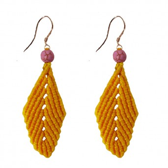 Siballba Stainless steel yellow leaf drop boho earrings