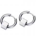 Jt Unisex ατσάλινα σκουλαρίκια κρίκοι μικροί με κύβο