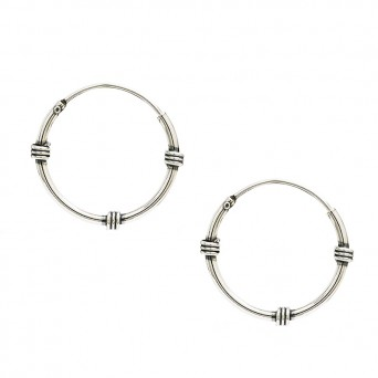 Jt Men's and women's silver Nat.American hoop earrings