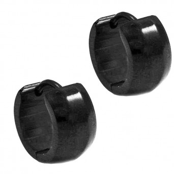 Jt Ατσάλινα unisex σκουλαρίκια κρίκοι παχιοί μαύροι 14mm