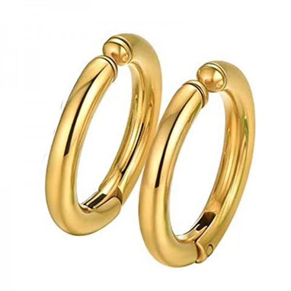 Jt Unisex σκουλαρίκια κρίκοι χρυσοί με κλιπ ατσάλι