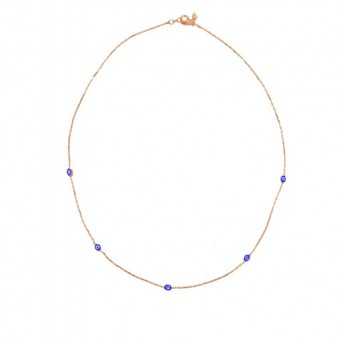 VFJ Rose gold plated silver eye charms necklace