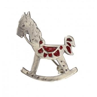 Jt Ασημένια καρφίτσα άλογο με σμάλτο