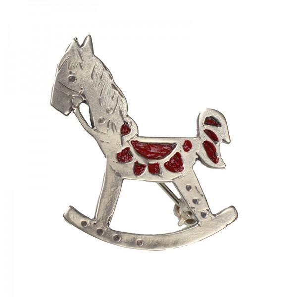 Jt Oxidized silver horse brooch with enamel
