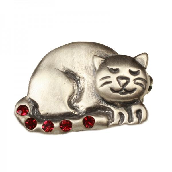 Jt Oxidized silver cat brooch