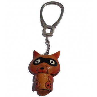 Jt Silver animal keychain made of leather