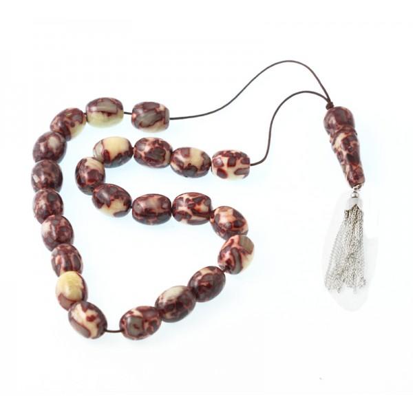 Jt Handmade silver Kompoloi vinyl worry beads