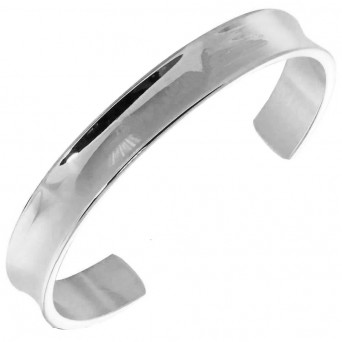 AD Stainless Steel Open Wide Bangle Bracelet