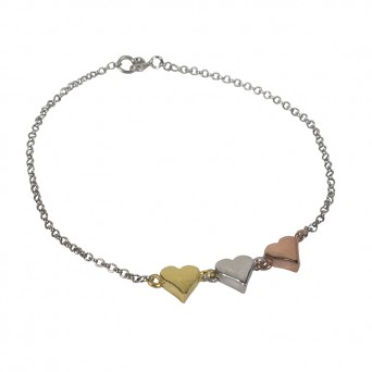 Jt Silver 3 colored heart bracelet
