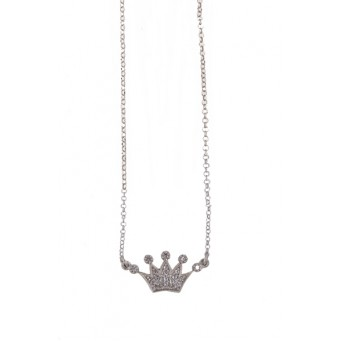 Aetoma Silver crown zirconia necklace
