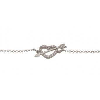Aetoma Silver white zirconia heart and arrow pave bracelet