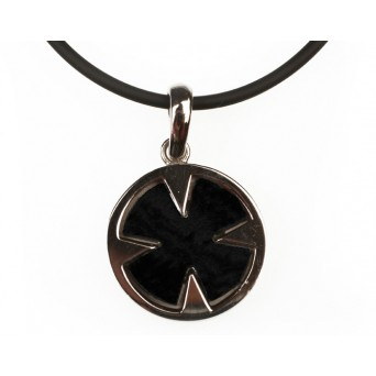 Aetoma Men's silver onyx cross necklace with rubber cord