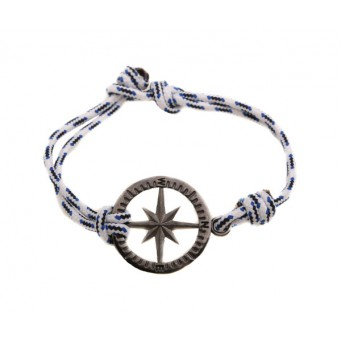 Aetoma Men's Sterling Silver Compass Bracelet