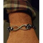 Aetoma Men's Sterling Silver Infinity Blue Bracelet