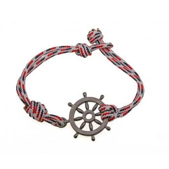 Aetoma Men's Silver Ship Steering Weel Bracelet