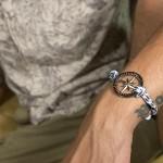 Aetoma Men's Sterling Silver Compass Bracelet