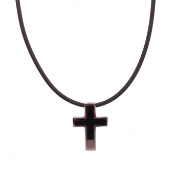 Aetoma Men's silver onyx cross necklace on rubber cord