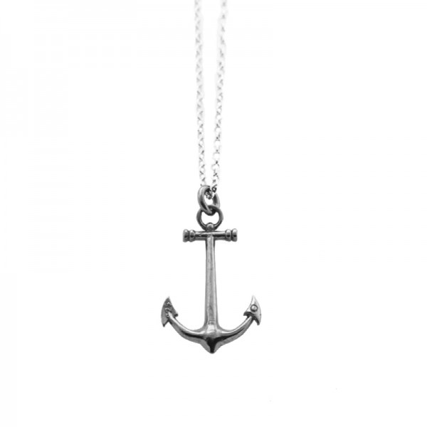 Aetoma Men`s Silver Anchor Necklace on Chain