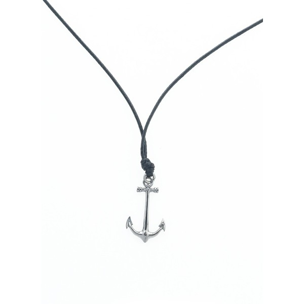 Aetoma Men's Silver Anchor Necklace on Cord