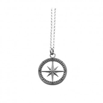 Aetoma Men`s Silver Compass Matte Finish Necklace