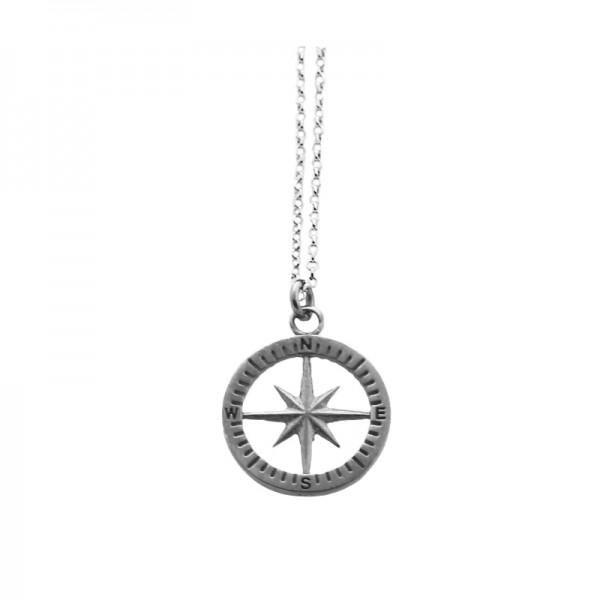 Aetoma Men's Silver Compass Matte Finish Necklace
