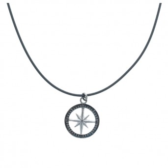 Aetoma Men`s Silver Compass Necklace on Cord