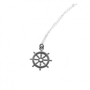 Aetoma Men`s Silver Ship Steering Weel Necklace