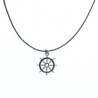 Aetoma Men`s Silver Steering Weel Necklace on Cord