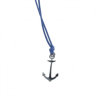 Aetoma Men`s Silver Anchor Necklace on Blue Cord