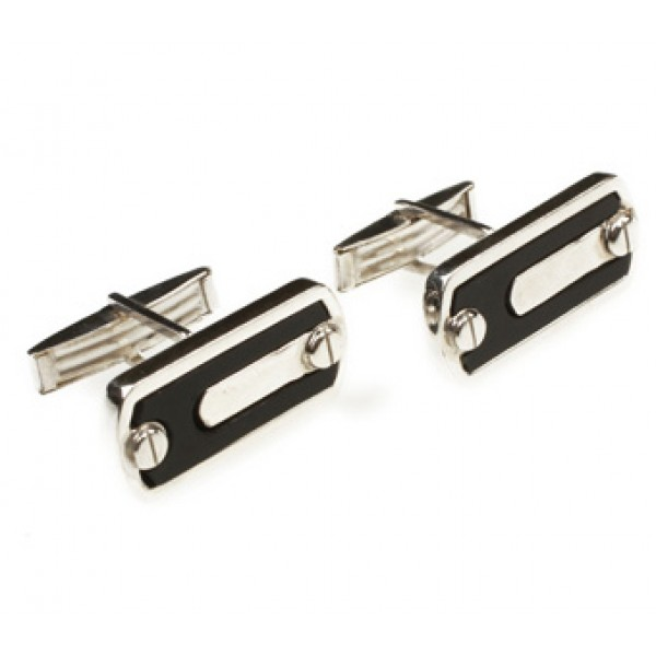 Aetoma Sterling Silver Ebenos Men`s Cufflinks