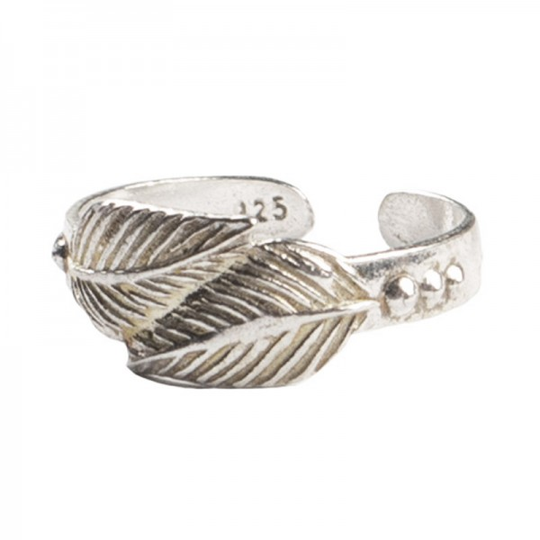AD Ασημένιο δαχτυλίδι ποδιού/ακροδάχτυλου φύλλα ανοιχτό