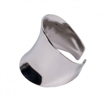 AD Stainless Steel Wide Ring with Curve