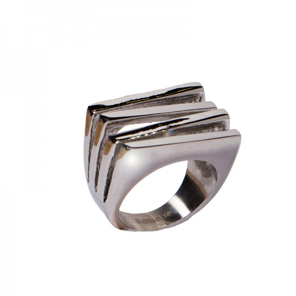 AD Impressive Quadruple Rectangle Steel Ring