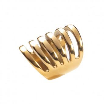 AD Εντυπωσιακό χρυσό πολύσειρο δαχτυλίδι ατσάλινο