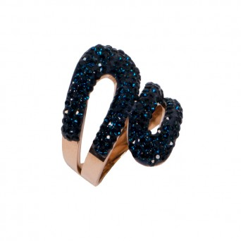 Jt Rose gold ring with blue rhinestones