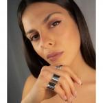 AD Σετ ασημένια δαχτυλίδια σωλήνες ίσια
