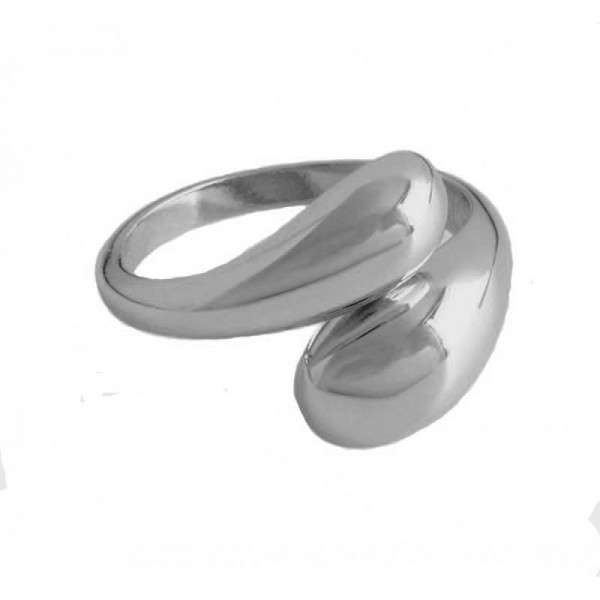 AD Sterling silver double open dome ring