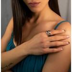 AD Εντυπωσιακό ασημένιο δαχτυλίδι διπλός θόλος